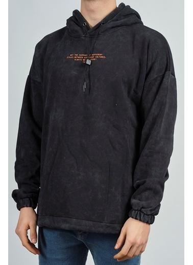 XHAN Antrasit Yıkamalı Baskılı Sweatshirt 1Kxe8-44282-36 Siyah